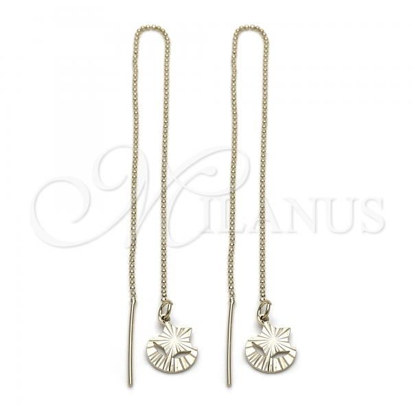 Gold Layered 5.115.002 Threader Earring, Star and Moon Design, Diamond Cutting Finish, Golden Tone