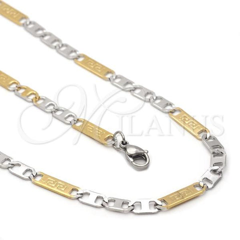 Stainless Steel 04.113.0045.24 Necklace and Bracelet, Greek Key Design, Diamond Cutting Finish, Two Tone