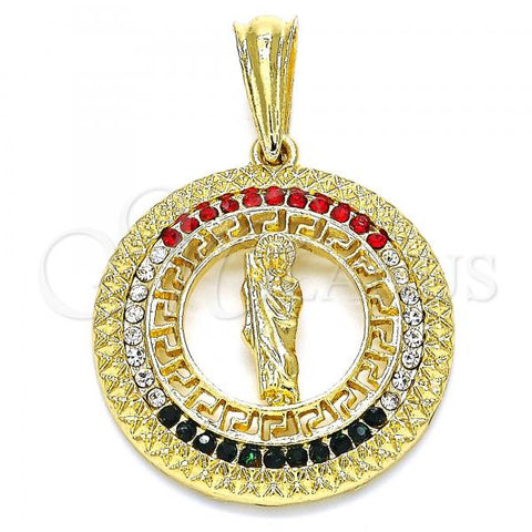 Gold Layered 05.351.0003 Religious Pendant, San Judas and Greek Key Design, with Multicolor Cubic Zirconia, Polished Finish, Golden Tone
