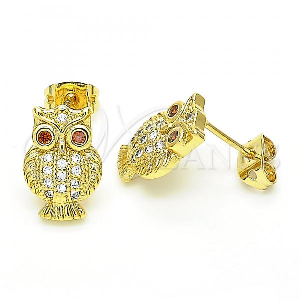 Gold Layered 02.342.0065 Stud Earring, Owl Design, with Garnet and White Cubic Zirconia, Polished Finish, Golden Tone