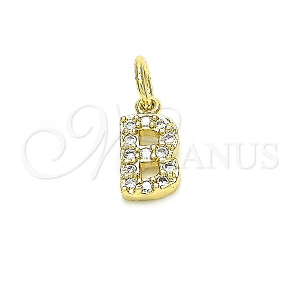 Gold Layered 05.341.0022 Fancy Pendant, Initials Design, with White Cubic Zirconia, Polished Finish, Golden Tone