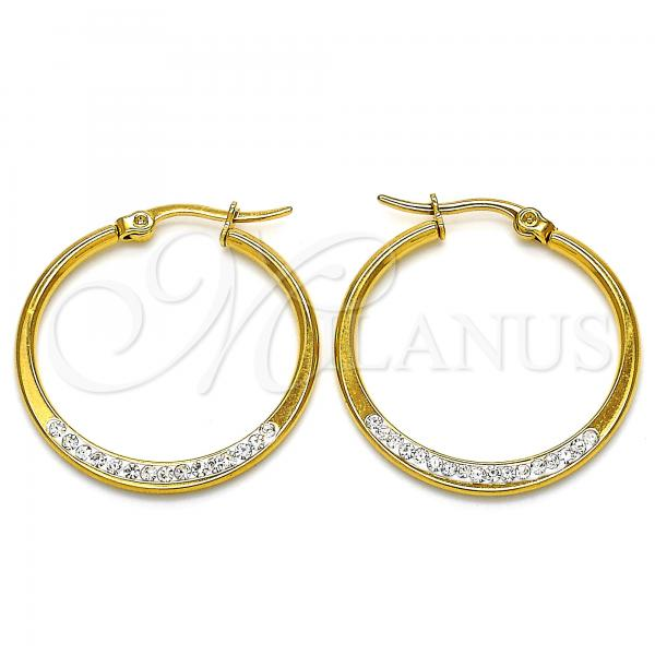 Stainless Steel 02.355.0004.30 Medium Hoop, with White Crystal, Polished Finish, Golden Tone