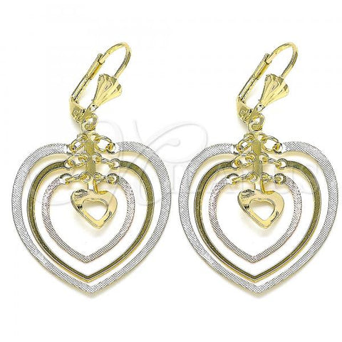 Gold Layered 02.351.0066 Long Earring, Heart Design, Polished Finish, Tri Tone