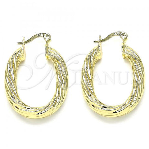 Gold Layered 02.170.0258.20 Small Hoop, Twist and Hollow Design, Polished Finish, Golden Tone