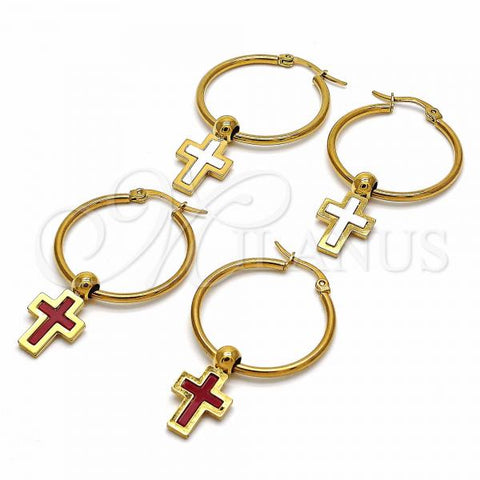 Stainless Steel Medium Hoop, Cross Design, Golden Tone