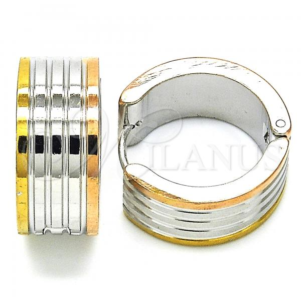 Stainless Steel 02.230.0036.20 Huggie Hoop, Polished Finish, Tri Tone