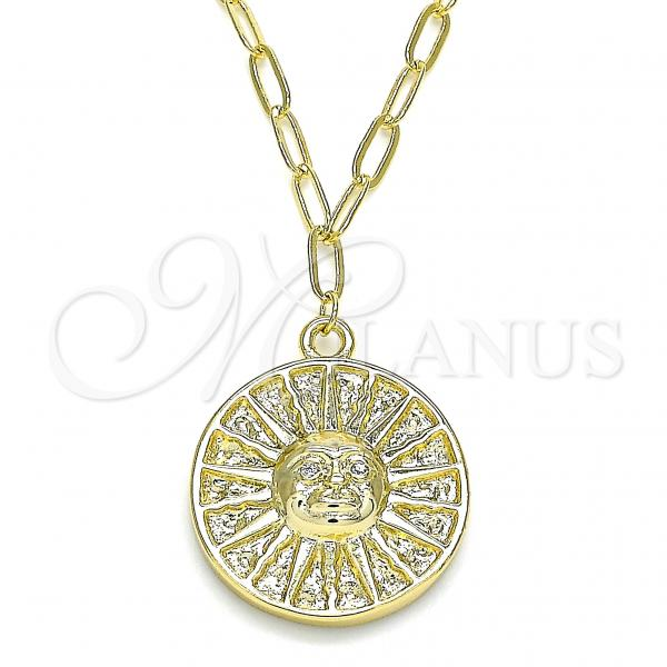 Gold Layered 04.60.0018.18 Pendant Necklace, Sun Design, with White Micro Pave, Polished Finish, Golden Tone
