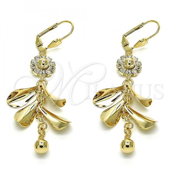 Gold Layered 02.270.0064 Long Earring, Flower Design, with White Crystal, Polished Finish, Golden Tone