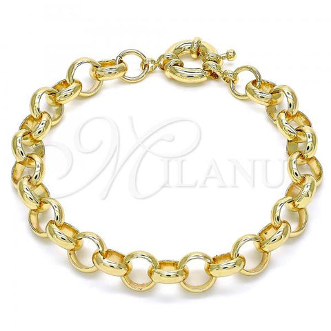 Gold Layered 03.319.0007.08 Basic Bracelet, Rolo Design, Polished Finish, Golden Tone