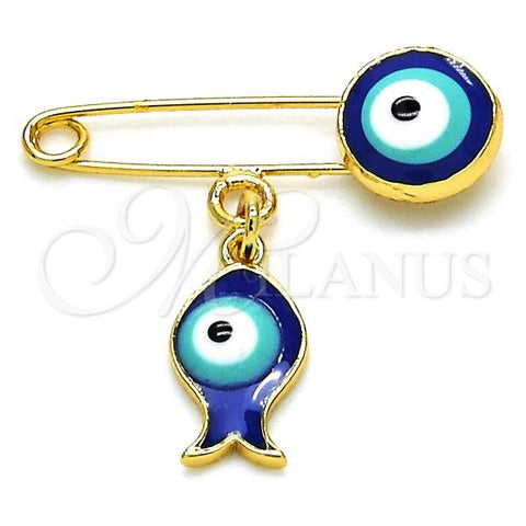 Gold Layered 13.60.0007 Basic Brooche, Fish and Greek Eye Design, Blue Enamel Finish, Golden Tone