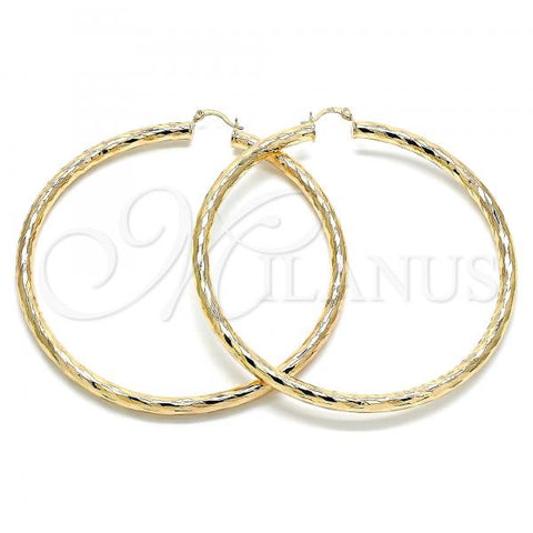 Gold Layered 02.170.0311.90 Extra Large Hoop, Hollow Design, Diamond Cutting Finish, Golden Tone