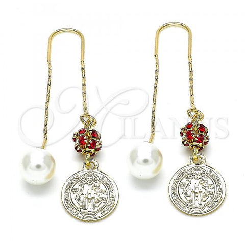 Gold Layered 02.63.2688 Threader Earring, San Benito Design, with Garnet Cubic Zirconia and Ivory Pearl, Polished Finish, Golden Tone