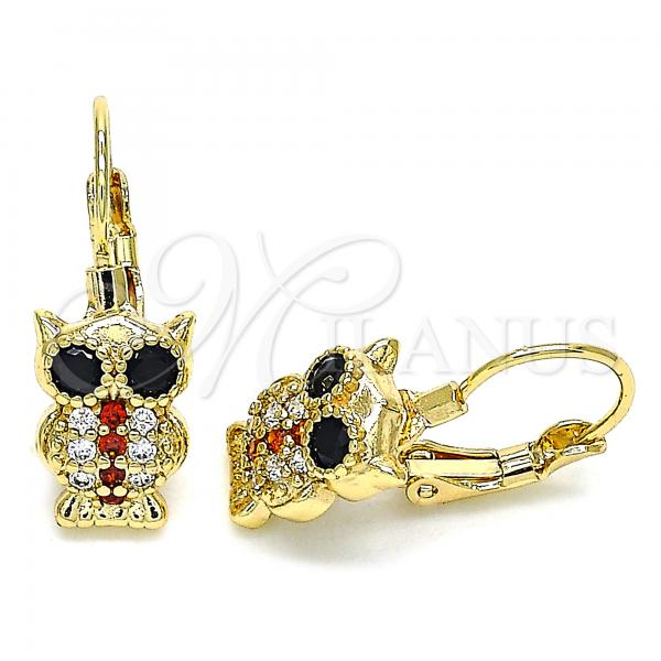 Gold Layered 02.210.0380.1 Leverback Earring, Owl Design, with Garnet and White Micro Pave, Polished Finish, Golden Tone