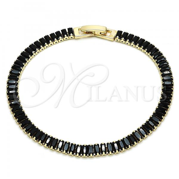 Gold Layered 03.130.0005.1.07 Tennis Bracelet, Polished Finish, Golden Tone with Black Cubic Zirconia, Polished Finish, Golden Tone