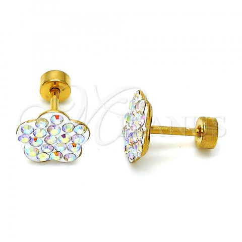 Stainless Steel Stud Earring, Flower Design, with Crystal, Golden Tone