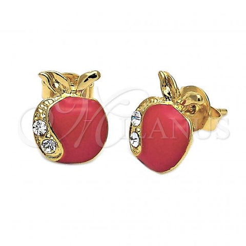 Gold Layered 02.64.0207 Stud Earring, Apple Design, with White Crystal, Red Enamel Finish, Golden Tone