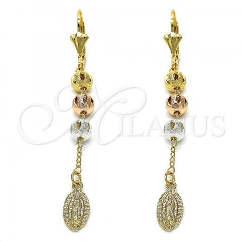 Gold Layered 02.351.0015 Long Earring, Guadalupe Design, Polished Finish, Tri Tone