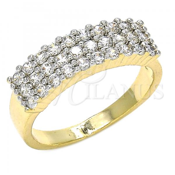Gold Layered Multi Stone Ring, with Cubic Zirconia, Two Tone