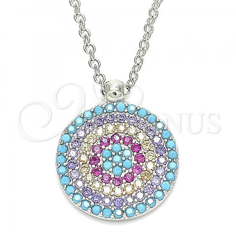 Sterling Silver 04.336.0217.16 Fancy Necklace, with Multicolor Cubic Zirconia, Polished Finish, Rhodium Tone