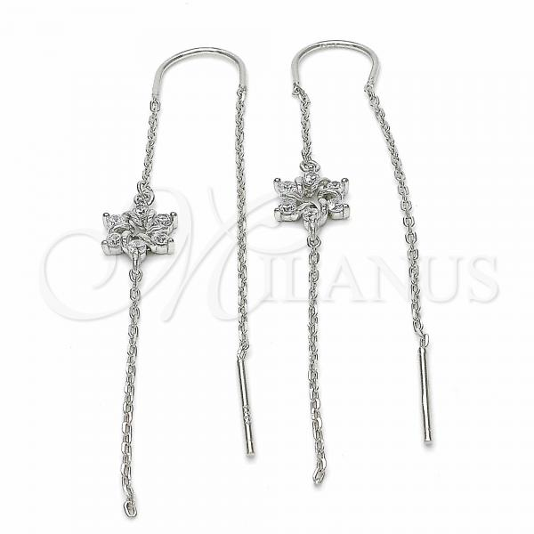 Sterling Silver 02.367.0014 Threader Earring, Flower Design, with White Cubic Zirconia, Polished Finish, Rhodium Tone