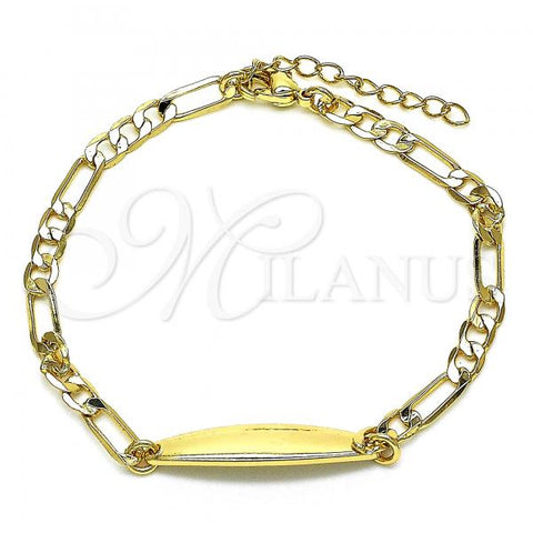 Gold Layered 03.168.0035.06 ID Bracelet, Polished Finish, Golden Tone