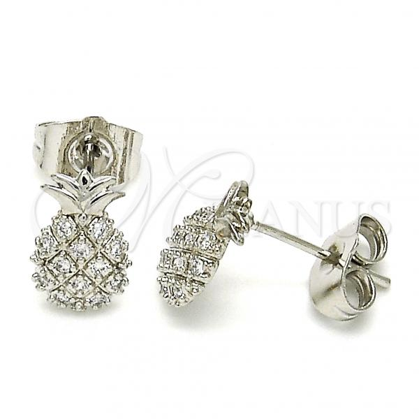 Rhodium Plated 02.310.0001.1 Stud Earring, Pineapple Design, with White Cubic Zirconia, Polished Finish, Rhodium Tone