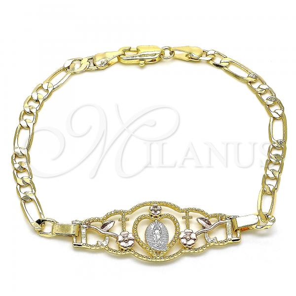Gold Layered 03.351.0087.1.08 Fancy Bracelet, Guadalupe and Heart Design, Polished Finish, Tri Tone