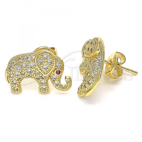 Gold Layered 02.199.0030 Stud Earring, Elephant Design, with White and Ruby Micro Pave, Polished Finish, Golden Tone