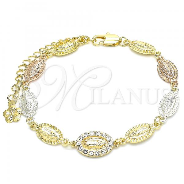 Gold Layered 03.253.0043.07 Fancy Bracelet, Guadalupe Design, with White Cubic Zirconia, Polished Finish, Tri Tone