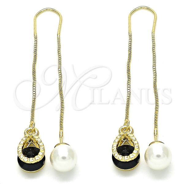 Gold Layered 02.351.0093.2 Threader Earring, Teardrop Design, with Black Cubic Zirconia, Polished Finish, Golden Tone