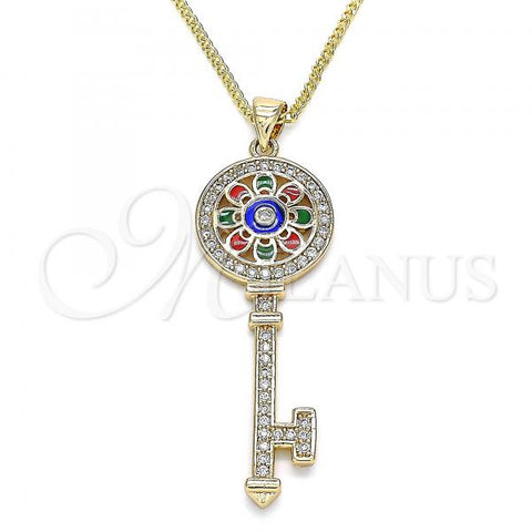 Gold Layered 04.213.0191.20 Pendant Necklace, key and Flower Design, with White Micro Pave, Multicolor Enamel Finish, Golden Tone