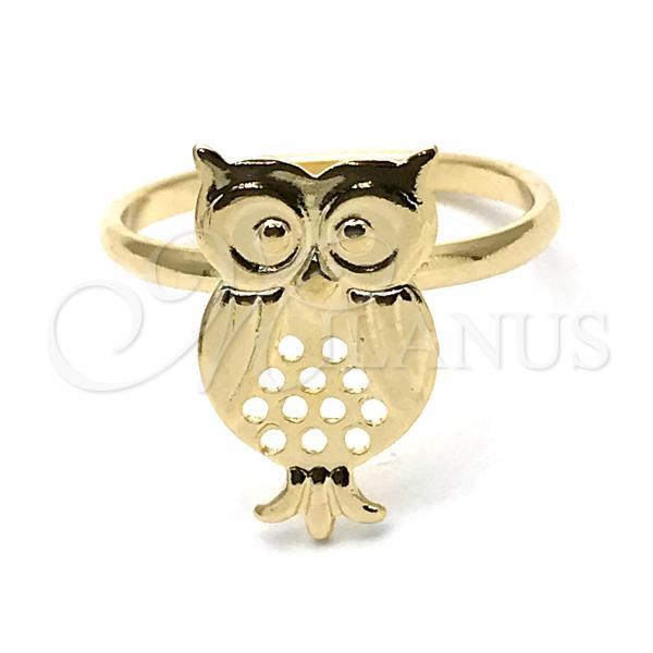 Gold Layered Elegant Ring, Owl Design, Golden Tone