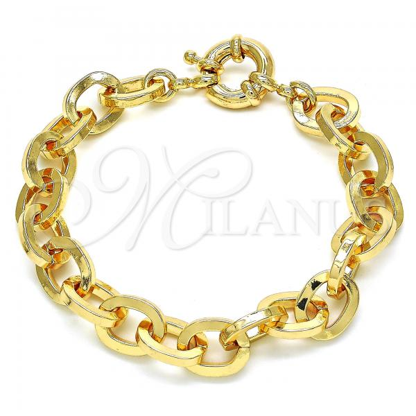 Gold Layered 03.378.0003.07 Basic Bracelet, Rolo Design, Polished Finish, Golden Tone