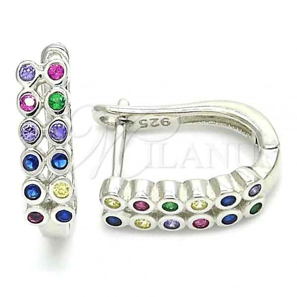 Sterling Silver 02.332.0052.12 Huggie Hoop, with Multicolor Cubic Zirconia, Polished Finish, Rhodium Tone