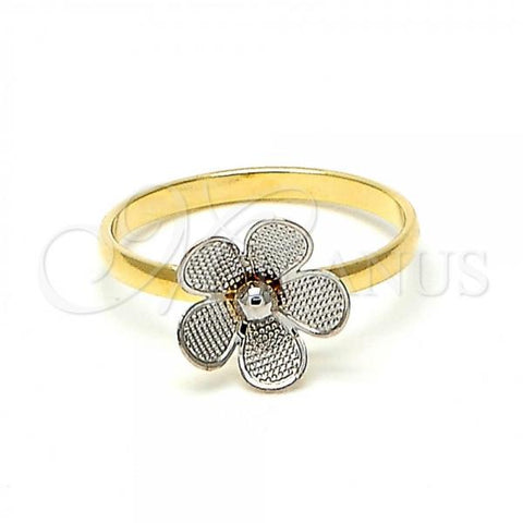 Gold Layered Baby Ring, Flower Design, Tri Tone