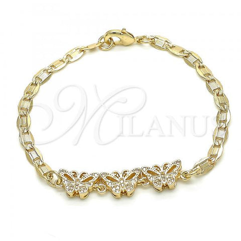 Gold Layered 03.233.0041.08 Fancy Bracelet, Butterfly Design, with White Cubic Zirconia, Polished Finish, Golden Tone