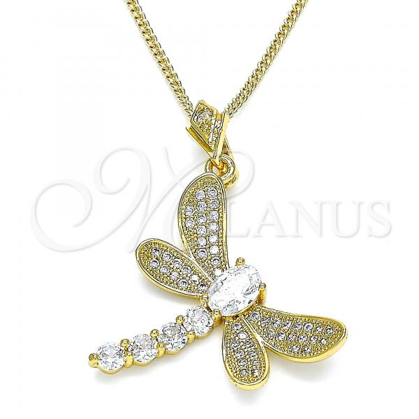 Gold Layered 04.283.0001.1.20 Pendant Necklace, Dragon-Fly Design, with White Cubic Zirconia and White Micro Pave, Polished Finish, Golden Tone