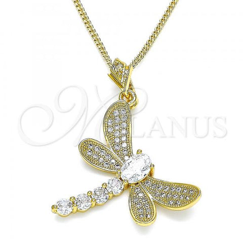 Gold Layered 04.283.0001.1.20 Fancy Necklace, Dragon-Fly Design, with White Cubic Zirconia and White Micro Pave, Polished Finish, Golden Tone