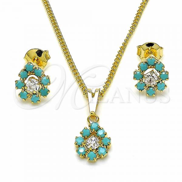 Gold Layered 10.09.0040 Earring and Pendant Adult Set, with White Cubic Zirconia and Aquamarine Opal, Blue Polished Finish, Golden Tone