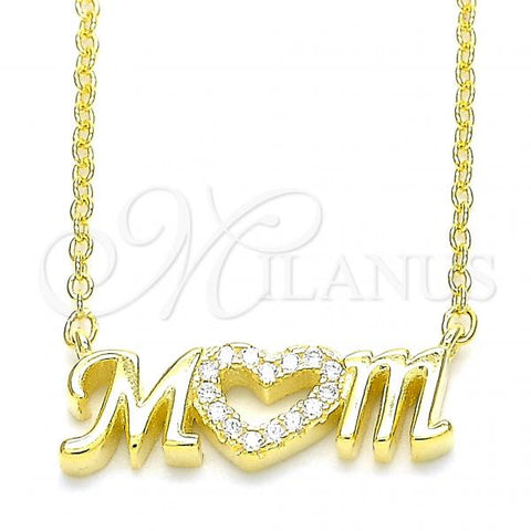 Sterling Silver 04.336.0212.2.16 Pendant Necklace, Mom and Heart Design, with White Cubic Zirconia, Polished Finish, Golden Tone