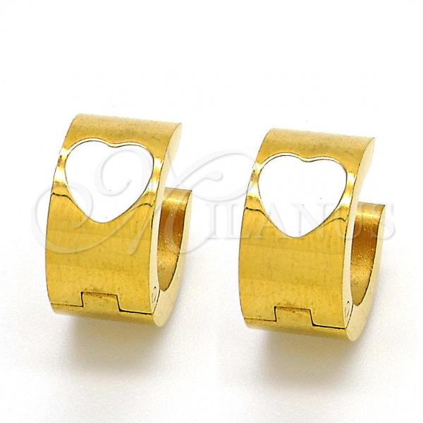 Stainless Steel Huggie Hoop, Heart Design, Golden Tone