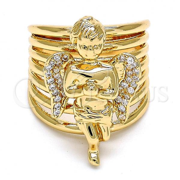 Gold Layered Multi Stone Ring, Angel Design, with Cubic Zirconia, Golden Tone