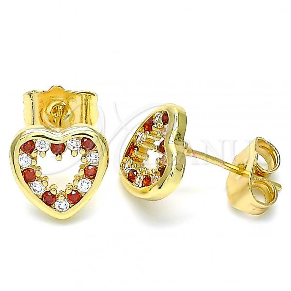 Gold Layered 02.156.0515.1 Stud Earring, Heart Design, with Garnet and White Cubic Zirconia, Polished Finish, Golden Tone