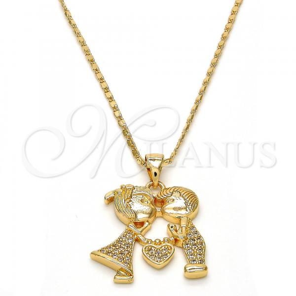 Gold Layered Pendant Necklace, Little Boy and Little Girl Design, with Micro Pave, Golden Tone
