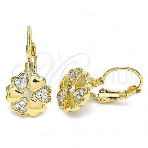 Gold Layered 02.210.0382 Leverback Earring, Flower and Heart Design, with White Micro Pave, Polished Finish, Golden Tone