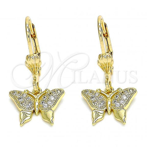 Gold Layered 02.316.0066 Dangle Earring, Butterfly Design, with White Micro Pave, Golden Tone
