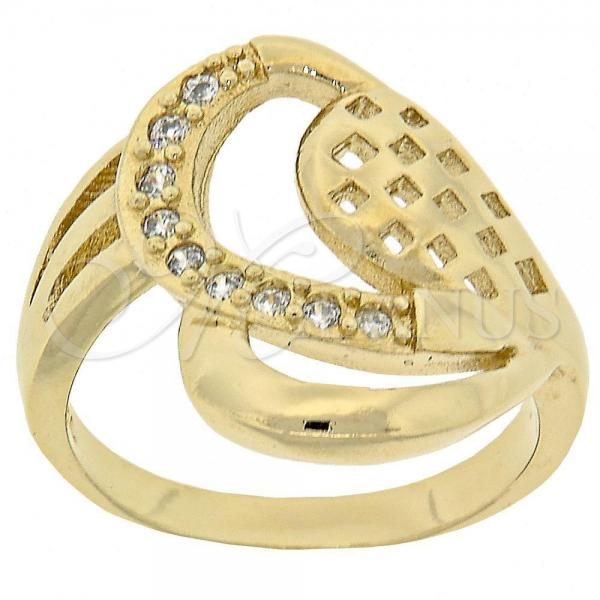 Gold Layered Multi Stone Ring, Heart Design, with Cubic Zirconia, Golden Tone