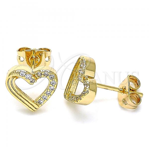 Gold Layered 02.342.0100 Stud Earring, Heart Design, with White Micro Pave, Polished Finish, Golden Tone