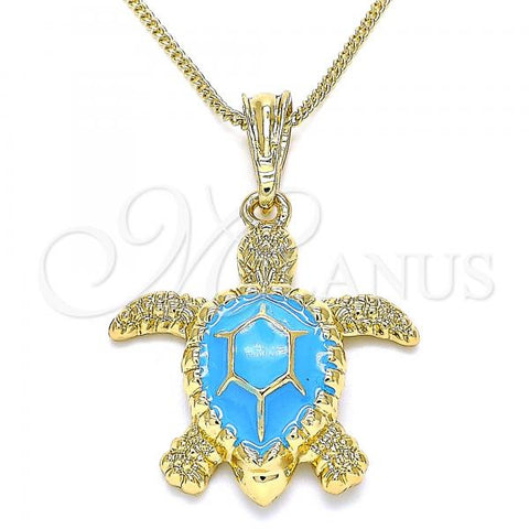 Gold Layered 04.380.0001.3.20 Pendant Necklace, Turtle Design, Blue Enamel Finish, Golden Tone