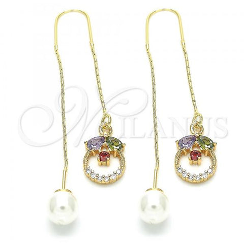 Gold Layered 02.357.0056 Threader Earring, Teardrop Design, with Multicolor Cubic Zirconia, Polished Finish, Golden Tone
